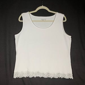 Cold Water Creek White Lace Tank Top size XL